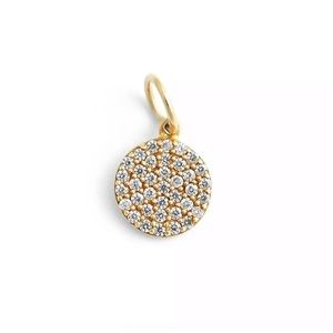 argento vivo pave disc 18k gold plated charm
